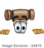 #24870 Clip Art Graphic Of A Wooden Mallet Cartoon Character Peeking Over A Surface