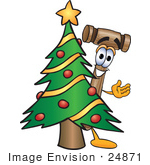 #24871 Clip Art Graphic Of A Wooden Mallet Cartoon Character Waving And Standing By A Decorated Christmas Tree