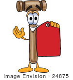 #24875 Clip Art Graphic Of A Wooden Mallet Cartoon Character Holding A Red Sales Price Tag