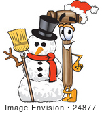 #24877 Clip Art Graphic Of A Wooden Mallet Cartoon Character With A Snowman On Christmas