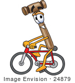 #24879 Clip Art Graphic Of A Wooden Mallet Cartoon Character Riding A Bicycle