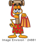 #24881 Clip Art Graphic Of A Wooden Mallet Cartoon Character In Orange And Red Snorkel Gear