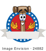 #24882 Clip Art Graphic Of A Wooden Mallet Cartoon Character Label