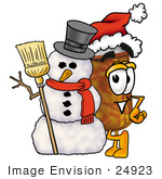 #24923 Clip Art Graphic Of A Medication Prescription Pill Bottle Cartoon Character With A Snowman On Christmas