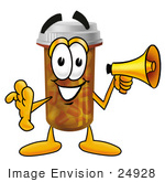 #24928 Clip Art Graphic Of A Medication Prescription Pill Bottle Cartoon Character Holding A Megaphone
