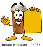 #24936 Clip Art Graphic Of A Medication Prescription Pill Bottle Cartoon Character Holding A Yellow Sales Price Tag