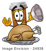 #24938 Clip Art Graphic Of A Medication Prescription Pill Bottle Cartoon Character Serving A Thanksgiving Turkey On A Platter