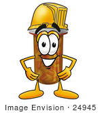 #24945 Clip Art Graphic Of A Medication Prescription Pill Bottle Cartoon Character Wearing A Hardhat Helmet