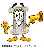#24955 Clip Art Graphic Of A Pillar Cartoon Character Holding A Megaphone