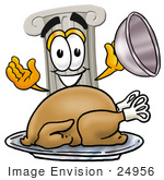 #24956 Clip Art Graphic Of A Pillar Cartoon Character Serving A Thanksgiving Turkey On A Platter