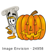 #24958 Clip Art Graphic Of A Pillar Cartoon Character With A Carved Halloween Pumpkin
