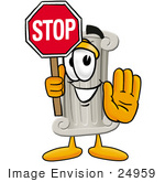 #24959 Clip Art Graphic Of A Pillar Cartoon Character Holding A Stop Sign