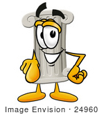 #24960 Clip Art Graphic Of A Pillar Cartoon Character Pointing At The Viewer