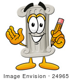 #24965 Clip Art Graphic of a Pillar Cartoon Character Holding a Pencil by toons4biz