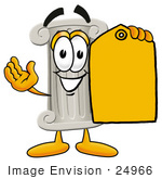 #24966 Clip Art Graphic Of A Pillar Cartoon Character Holding A Yellow Sales Price Tag