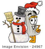 #24967 Clip Art Graphic Of A Pillar Cartoon Character With A Snowman On Christmas