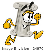 #24970 Clip Art Graphic Of A Pillar Cartoon Character Running