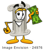 #24976 Clip Art Graphic Of A Pillar Cartoon Character Holding A Dollar Bill