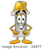 #24977 Clip Art Graphic Of A Pillar Cartoon Character Wearing A Hardhat Helmet