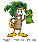#24983 Clip Art Graphic Of A Tropical Palm Tree Cartoon Character Holding A Dollar Bill