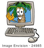 #24985 Clip Art Graphic Of A Tropical Palm Tree Cartoon Character Waving From Inside A Computer Screen