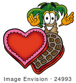 #24993 Clip Art Graphic Of A Tropical Palm Tree Cartoon Character With An Open Box Of Valentines Day Chocolate Candies