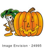 #24995 Clip Art Graphic Of A Tropical Palm Tree Cartoon Character With A Carved Halloween Pumpkin