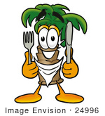 #24996 Clip Art Graphic Of A Tropical Palm Tree Cartoon Character Holding A Knife And Fork