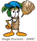 #24997 Clip Art Graphic Of A Tropical Palm Tree Cartoon Character Catching A Baseball With A Glove