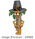 #24999 Clip Art Graphic Of A Tropical Palm Tree Cartoon Character Wearing A Pilgrim Hat On Thanksgiving