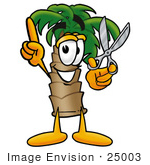 #25003 Clip Art Graphic Of A Tropical Palm Tree Cartoon Character Holding A Pair Of Scissors