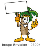 #25004 Clip Art Graphic of a Tropical Palm Tree Cartoon Character Holding a Blank Sign by toons4biz