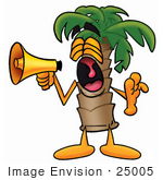 #25005 Clip Art Graphic Of A Tropical Palm Tree Cartoon Character Screaming Into A Megaphone