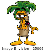 #25009 Clip Art Graphic Of A Tropical Palm Tree Cartoon Character Whispering And Gossiping