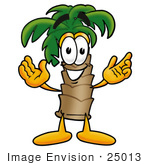 #25013 Clip Art Graphic of a Tropical Palm Tree Cartoon Character With Welcoming Open Arms by toons4biz