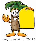 #25017 Clip Art Graphic Of A Tropical Palm Tree Cartoon Character Holding A Yellow Sales Price Tag