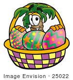 #25022 Clip Art Graphic Of A Tropical Palm Tree Cartoon Character In An Easter Basket Full Of Decorated Easter Eggs