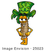 #25023 Clip Art Graphic Of A Tropical Palm Tree Cartoon Character Wearing A Saint Patricks Day Hat With A Clover On It