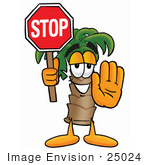 #25024 Clip Art Graphic Of A Tropical Palm Tree Cartoon Character Holding A Stop Sign