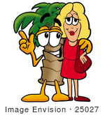 #25027 Clip Art Graphic Of A Tropical Palm Tree Cartoon Character Talking To A Pretty Blond Woman