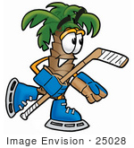 #25028 Clip Art Graphic Of A Tropical Palm Tree Cartoon Character Playing Ice Hockey