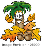 #25029 Clip Art Graphic Of A Tropical Palm Tree Cartoon Character With Autumn Leaves And Acorns In The Fall