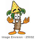 #25032 Clip Art Graphic Of A Tropical Palm Tree Cartoon Character Wearing A Birthday Party Hat