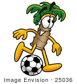 #25036 Clip Art Graphic of a Tropical Palm Tree Cartoon Character Kicking a Soccer Ball by toons4biz