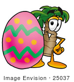#25037 Clip Art Graphic Of A Tropical Palm Tree Cartoon Character Standing Beside An Easter Egg