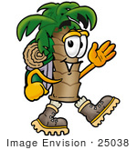 #25038 Clip Art Graphic Of A Tropical Palm Tree Cartoon Character Hiking And Carrying A Backpack