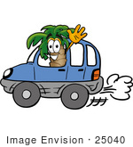 #25040 Clip Art Graphic of a Tropical Palm Tree Cartoon Character Driving a Blue Car and Waving by toons4biz