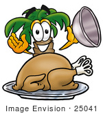 #25041 Clip Art Graphic Of A Tropical Palm Tree Cartoon Character Serving A Thanksgiving Turkey On A Platter