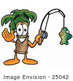 #25042 Clip Art Graphic Of A Tropical Palm Tree Cartoon Character Holding A Fish On A Fishing Pole