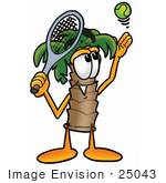 #25043 Clip Art Graphic Of A Tropical Palm Tree Cartoon Character Preparing To Hit A Tennis Ball